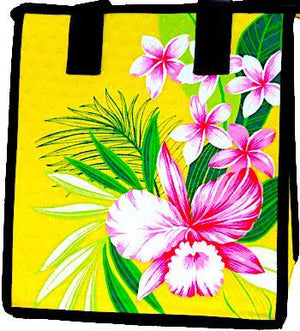 Orchid Paradise Yellow Petite Hawaiian Insulated Hot/Cold Reusable Bag