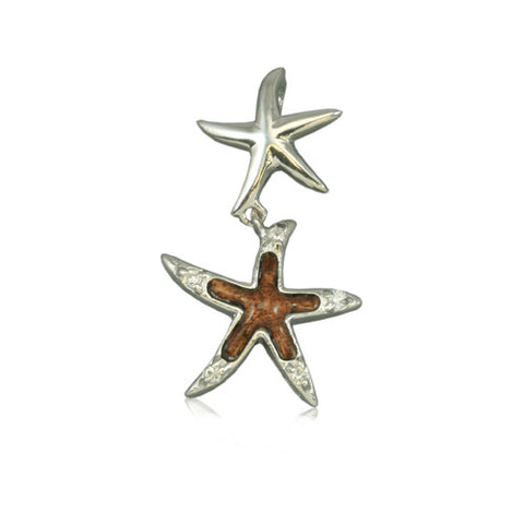 Sterling Silver Hawaiian Koa Wood Double Starfish Pendant