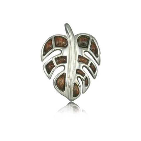 Sterling Silver Fancy Hawaiian Koa Wood Monstera Leaf Pendant