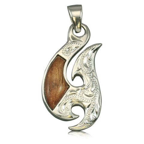 Sterling Silver 2 Sided Engraved Fancy Hawaiian Koa Wood Fish Hook Pendant