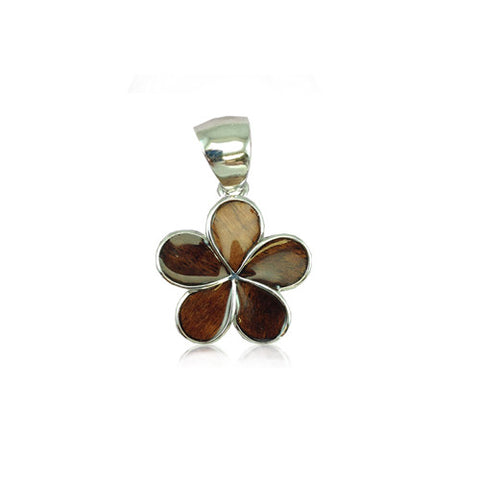 Sterling Silver Hawaiian Koa Wood Plumeria Pendant~15MM