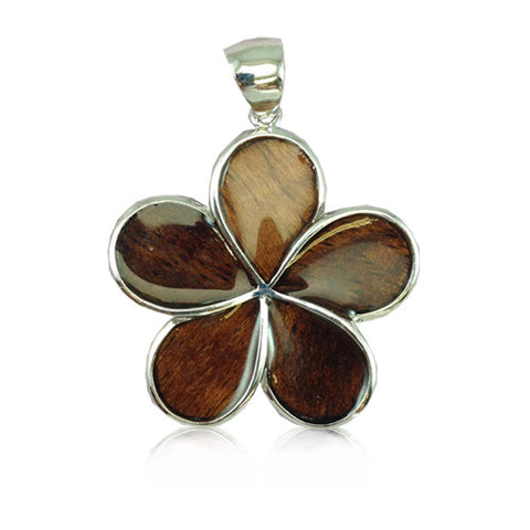 Sterling Silver Hawaiian Koa Wood Plumeria Pendant~25MM