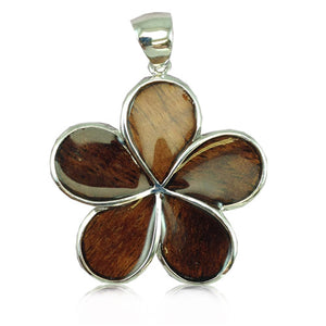 Sterling Silver Hawaiian Koa Wood Plumeria Pendant~35MM