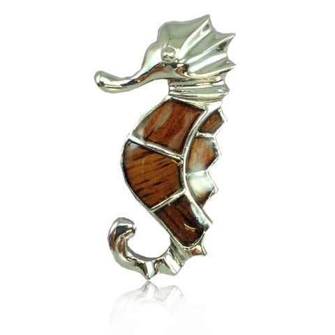 Sterling Silver Koa Wood Sea Horse Pendant
