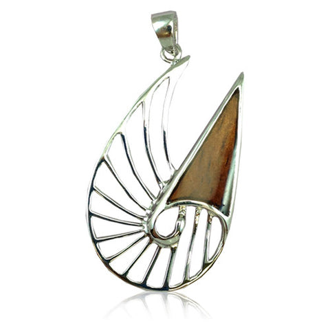 Sterling Silver Koa Wood Cut-In Nautilus Shell Pendant
