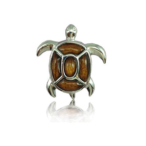 Sterling Silver Hawaiian Koa Wood Fancy Sea Turtle Pendant