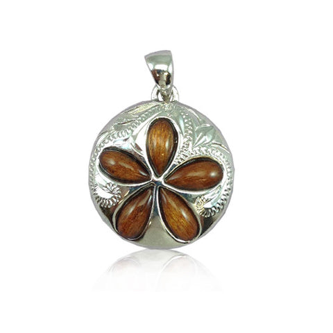 Sterling Silver Hawaiian Koa Wood Plumeria Sand Dollar Pendant~20MM