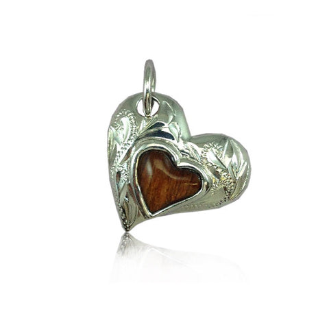 Sterling Silver Hawaiian Koa Wood Engraved Heart Shaped Pendant