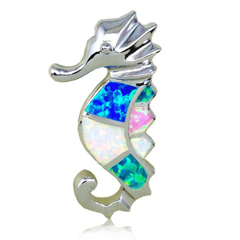 Sterling Silver Rainbow Opal Sea Horse Pendant