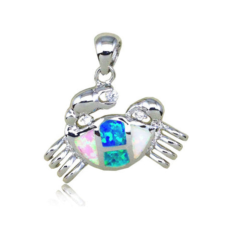 Sterling Silver Rainbow Opal Crab Pendant