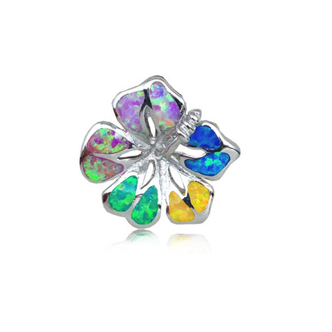 Sterling Silver Rainbow Opal Hibiscus Flower Pendant~18MM