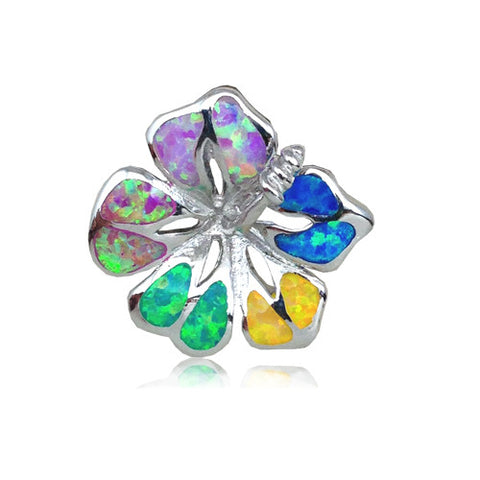 Sterling Silver Rainbow Opal Hibiscus Flower Pendant~25MM