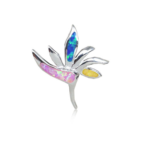 Sterling Silver Rainbow Opal Bird of Paradise Pendant