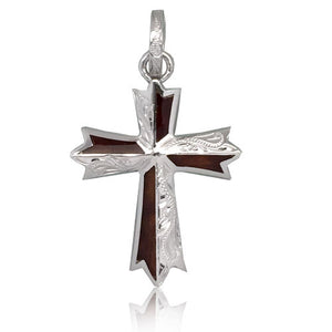 Sterling Silver Hawaiian Koa Wood Engraved Cross Pendant~Large