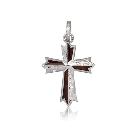 Sterling Silver Hawaiian Koa Wood Engraved Cross Pendant~Small