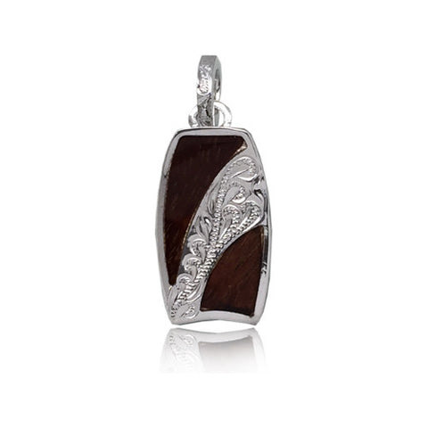 Sterling Silver Hawaiian Koa Wood Engraved Center Bodyboard Pendant
