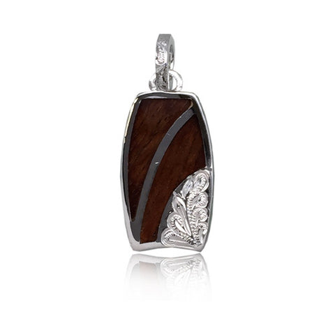 Sterling Silver Hawaiian Koa Wood Right Side Engraved Bodyboard Pendant