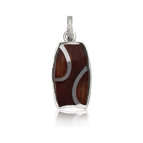 Sterling Silver Hawaiian Koa Wood Bodyboard Pendant
