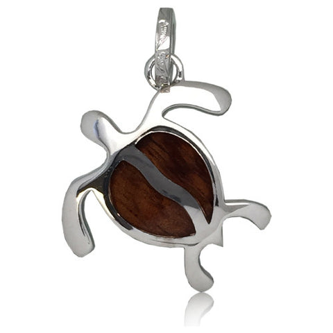 Sterling Silver Hawaiian Koa Wood Honu Pendant~Large