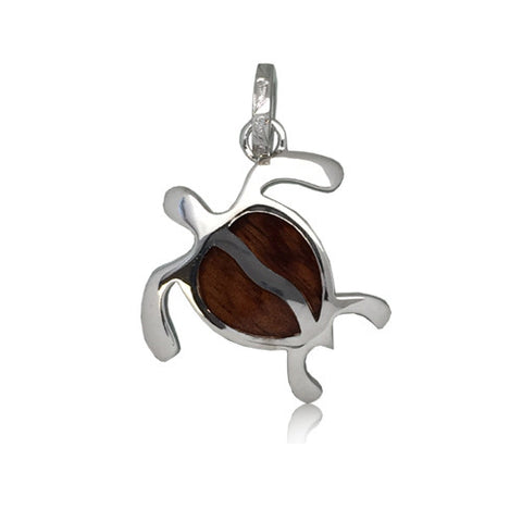 Sterling Silver Hawaiian Koa Wood Honu Pendant~Medium