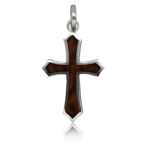Sterling Silver Hawaiian Koa Wood Cross Pendant~Large