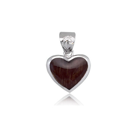 Sterling Silver Hawaiian Koa Wood Heart Pendant