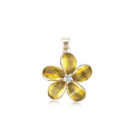 Sterling Silver Semi-Precious Yellow Citrine Plumeria Pendant~15mm