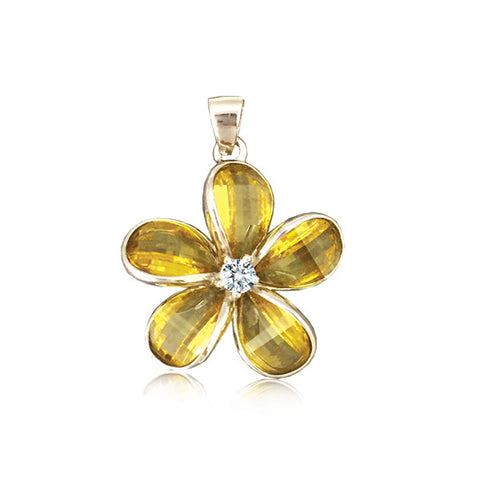 Sterling Silver Semi-Precious Yellow Citrine Plumeria Pendant~18mm