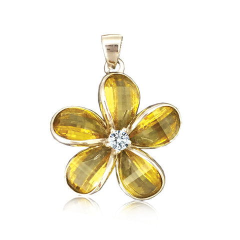 Sterling Silver Semi-Precious Yellow Citrine Plumeria Pendant~24mm
