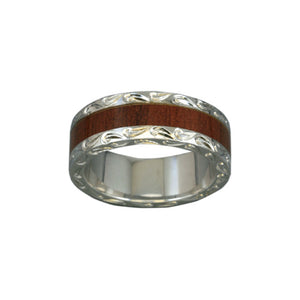 Sterling Silver Koa Wood Men's Eternity Ring~7MM