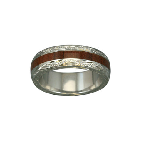 Sterling Silver Koa Wood Lady's Eternity Ring~6MM