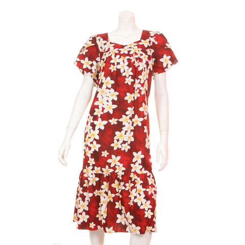 Plumeria Tulip Sleeve Zipper Back Short Muu Muu ~ Red