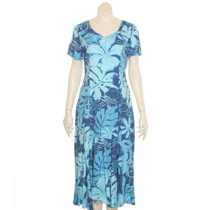 Royal Hibiscus Short Sleeve Mid Ruffle Dress