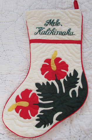 Hawaiian quilt 100% hand quilted/hand appliqued Christmas Stocking - Hibiscus Red