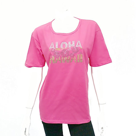 Womens Aloha Hibiscus Hawaii Bling Shirt - CS2-9