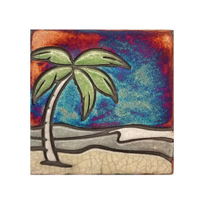 Raku Potteryworks - Palm Scene Coaster - 1 piece
