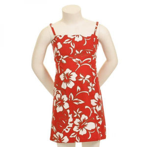 Classic Hibiscus Pareo Girls Adjustable Strap Dress