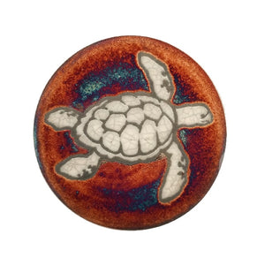 Raku Potteryworks - Sea Turtle Coaster - 1 piece
