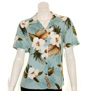 Hibiscus Floral Camp Blouse