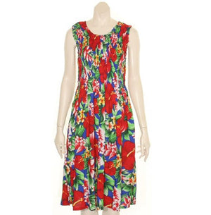 Hawaiian Short Smock Dress - Assorted Colors