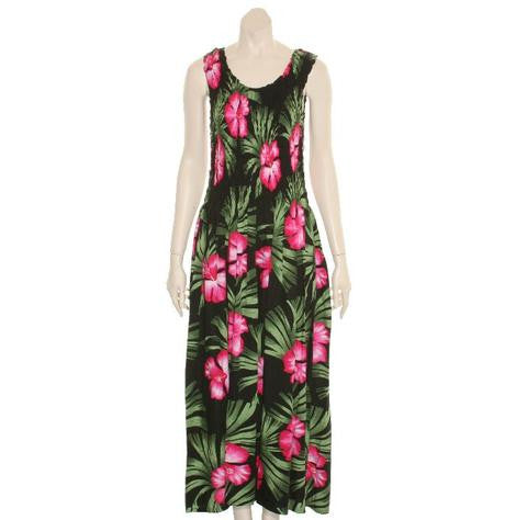 Long Hawaiian Hibiscus Palm Tank Style Smock Dress ~ Black