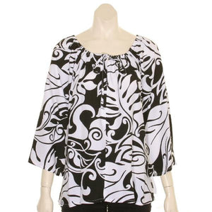 Monstera Swirl Peasant Top