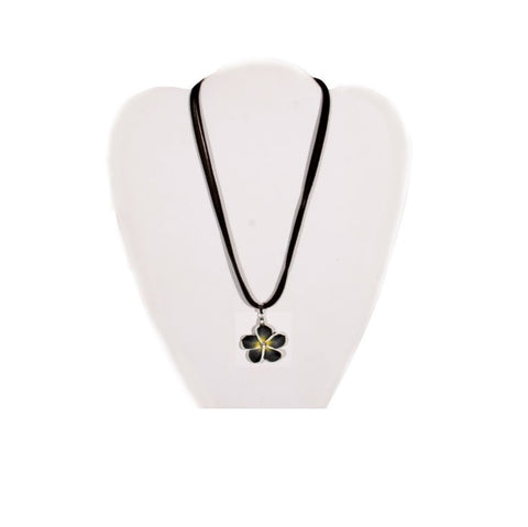 Black Fimo Plumeria Necklace