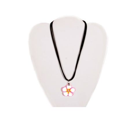 White & Pink Fimo Plumeria Necklace