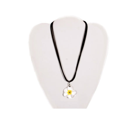 White Fimo Plumeria Necklace