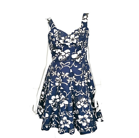 Classic Hibiscus Pareo Smock Back Sundress ~ Navy