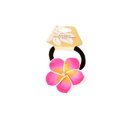Light Pink Plumeria Fimo Ponytail Hair Tie