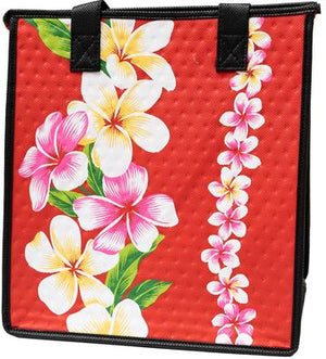 Plumeria Panel Red  Medium  Insulated Hot/Cold Reusable Bag