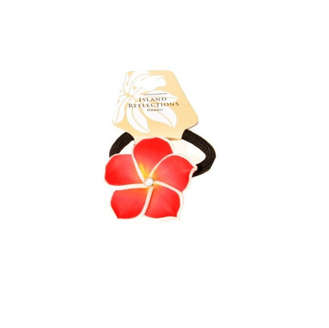 Red Plumeria Fimo Ponytail Hair Tie