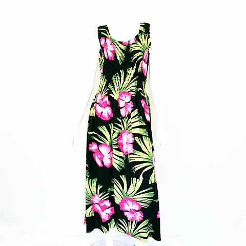 Short Hawaiian Hibiscus Palm Tank Style Smock Dress ~ Black